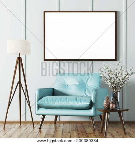 Interior Of Living Room With Wooden Coffee Table,floor Lamp, Blue Armchair And Mock Up Poster 3d Ren