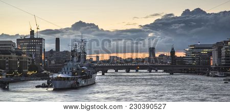 Beautiful Sunset Landscape Image Of View Along River Thames In London