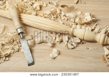 Carpentry Concept.joiner Carpenter Workplace. Old Chisel And Wooden Workpiece On The Table. Copy Spa