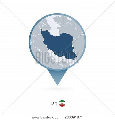 Map Pin With Detailed Map Of Iran And Neighboring Countries.