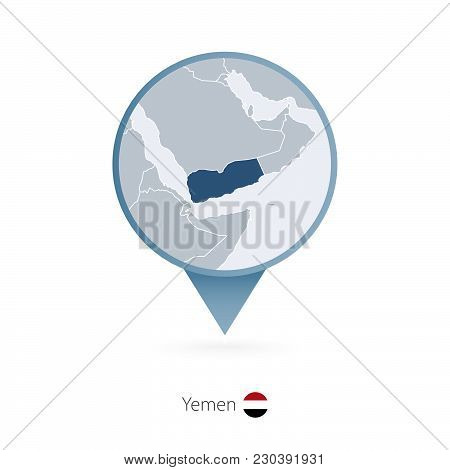 Map Pin With Detailed Map Of Yemen And Neighboring Countries.