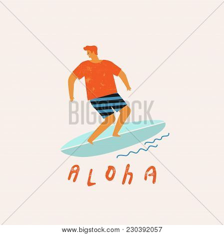 Aloha Poster With Surfer On Surfboard Catching Waves