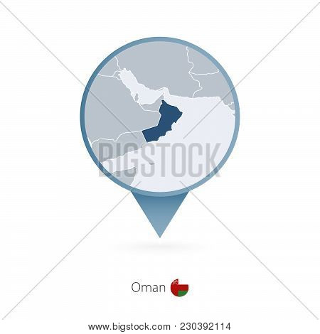 Map Pin With Detailed Map Of Oman And Neighboring Countries.