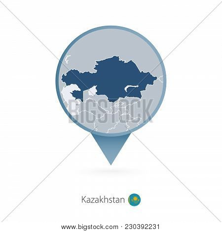 Map Pin With Detailed Map Of Kazakhstan And Neighboring Countries.