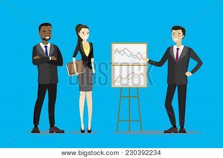 Cartoon Business Team, Presentation Or Report, Stock Vector Illustration