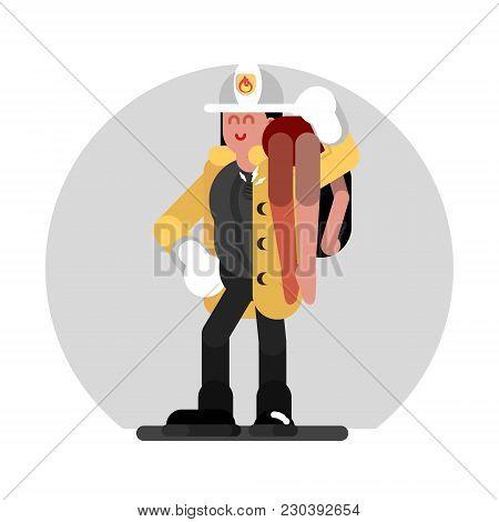 Fireman Girl Saves The Human. Vector Illustration, Eps 10