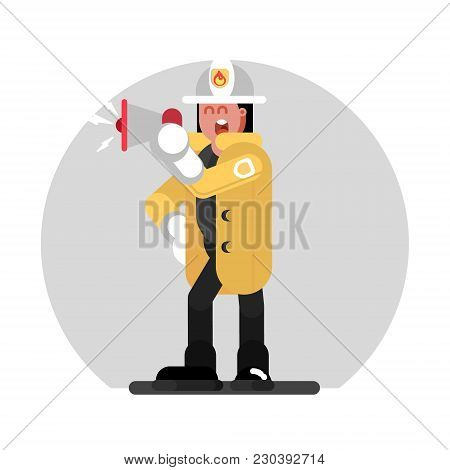 Fireman Girl Speaks Into A Megaphone. Vector Illustration, Eps 10