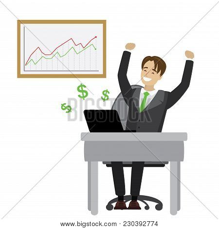 Businessman Enjoys Success And Growing Chart, Isolated On White Background, Cartoon Vector Illustrat