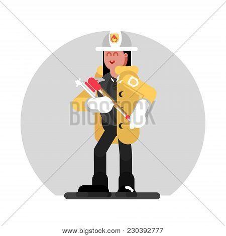 Fireman Girl Standing With Axe. Vector Illustration, Eps 10