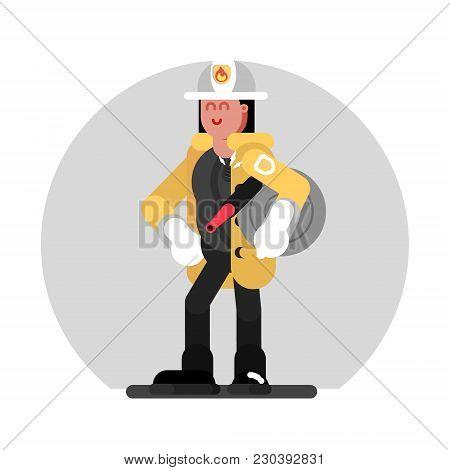 Fireman Girl Standing With Fire Hose. Vector Illustration, Eps 10