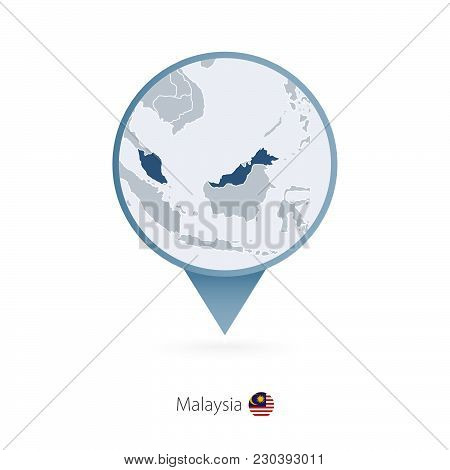 Map Pin With Detailed Map Of Malaysia And Neighboring Countries.