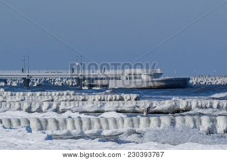 Winter On The Sea Coast - Ice On Palisades And Pier