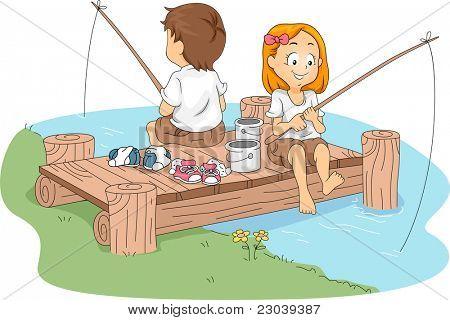 Illustration of Kids Fishing