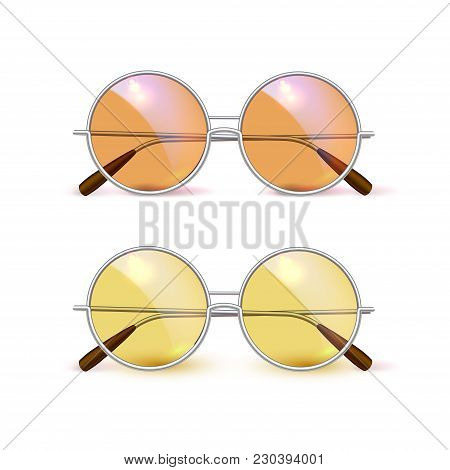 Vector Realistic Retro Circle Eyeglasses Vintage Hipster Gradient Lens For Photobooth, Photo Props D