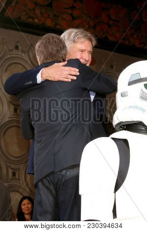LOS ANGELES - MAR 8:  Harrison Ford, Mark Hamill at the Mark Hamill Star Ceremony on the Hollywood Walk of Fame on March 8, 2018 in Los Angeles, CA