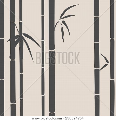 Bamboo Background. Oriental Theme. Horizontal Bamboo Shoots On A Beige Background. Vector Illustrati