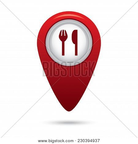 Red Map Pointer With Fork And Spoon Icon In Vector