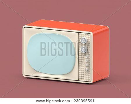 Vintage Television - Old Tv On Background. 3d Illustration