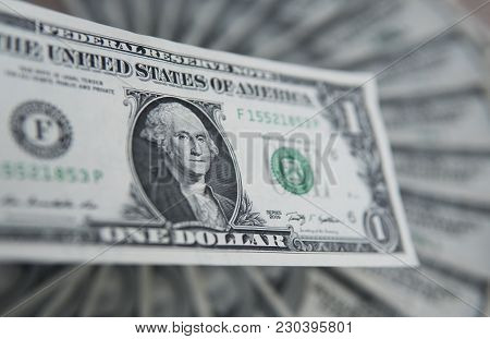 One American Dollar Banknote. Money Background, Heap Of Dollars, Financial Concept Of Earnings. Top
