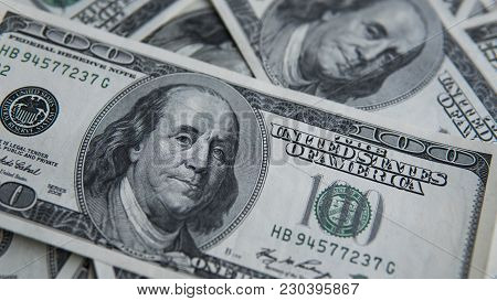 One Hundred Dollars Pile. Money Background, Heap Of Dollars, Financial Concept Of Earnings. Top View