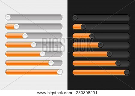 Orange Slider Bars. Settings On Control Panel. Vector 3d Illustration
