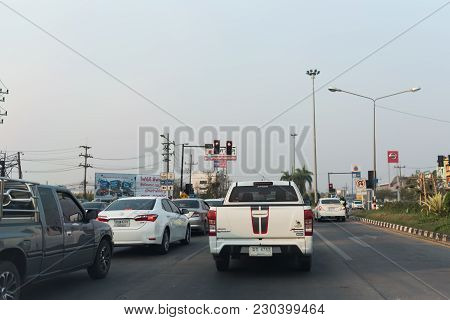 Chiang Rai, Thailand - March 7 2018: View Of The Traffic Jam On The Road.