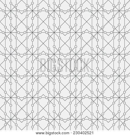 Vector Seamless Pattern. Abstract Geometric Background. Modern Linear Texture With Thin Lines. Regul