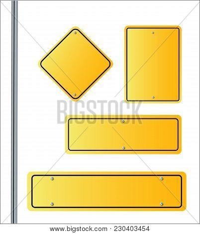 Yellow Roadsigns Set Vector Illustrationof Eps 10 Street