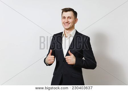 Handsome Satisfied Caucasian Lucky Young Happy Business Man 25-30 Years In Dark Suit, Light Shirt Sh