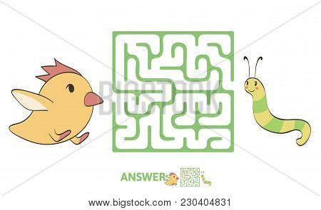 Children's Maze With Chicken And Worm. Puzzle Game For Kids, Vector Labyrinth Illustration.
