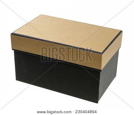 Elegant gift box isolated on white background.