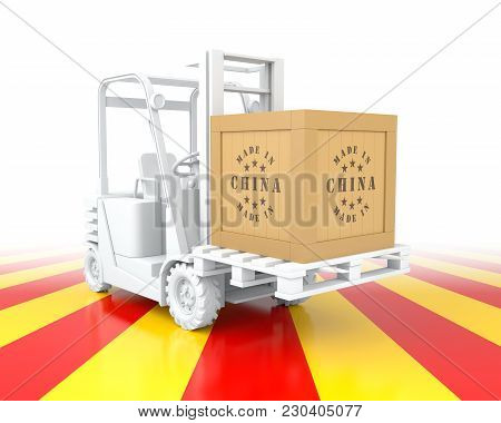 Forklift Truck With China Flag Color. Made In China