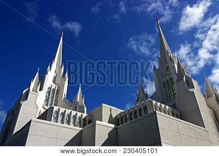 Temple Of Mormons In San Diego, California.