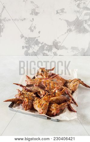 Asian Sticky Grilled Chicken Wings, Copy Space For Your Text