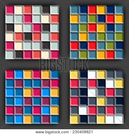 Set Of Cube Game Seamless Patterns. Geometric Pattern Background. 3d Like Surface Color Mosaic. Stoc