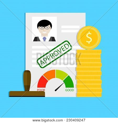 Approval Of Loan. Finance Loan Document, Bank Application With Stamp, Vector Illustration