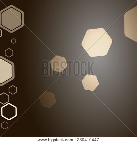 Abstract Gradient Dark Brown Background With Different Size And Opacity Hexagon Shapes.