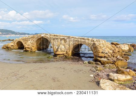 The Venetian Bridge Of Argassi In Zakynthos. The Bridge Is A Sightseeing Location That Many Tourists