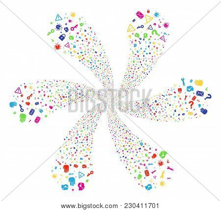 Bright Secrecy Symbols Explosion Motion. Suggestive Flower With Six Petals Composed From Randomized
