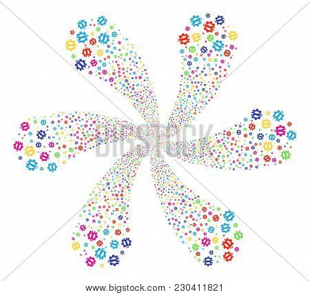 Colorful Service Tools Rotation Flower Cluster. Impressive Flower With Six Petals Combined From Rand