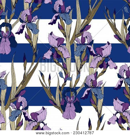 Irises Flowers Vector Seamless Pattern Flowered Background Of Botany Texture