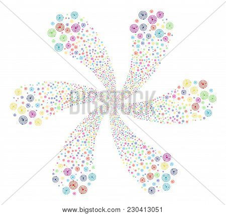 Bright Solar System Swirl Flower Cluster. Suggestive Cycle Done From Random Solar System Items. Vect