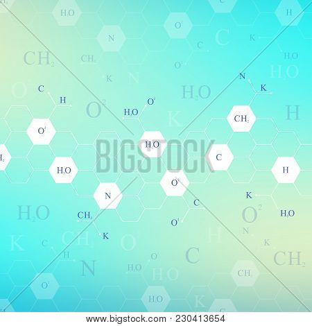 Scientific Hexagonal Chemistry Pattern. Structure Molecule Dna Research As Concept. Science And Tech