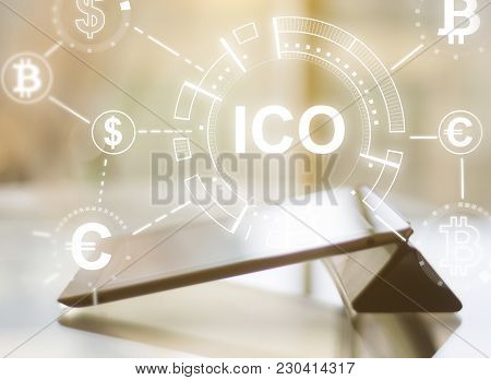 Blurry Tablet With Ico Hologram On Blurry Backgorund. Double Exposure