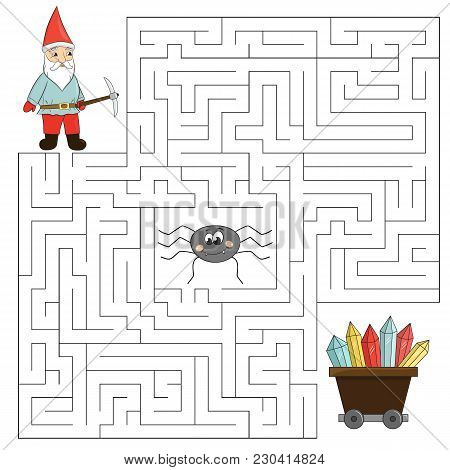 Educational Maze Game For Children. Help The Dwarf Find Way To Crystals, Beware Of The Spider. Vecto
