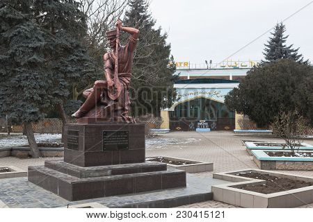 Evpatoria, Crimea, Russia - February 26, 2018: Monument To The Songwriter Ashik Omer In The City Of