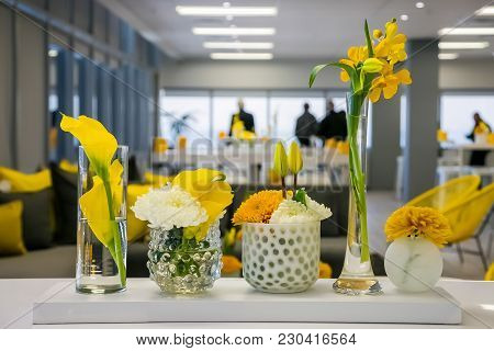 Spring Festival Office Decor With A Yellow Theme For Event Or Cocktail Party