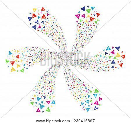 Multicolored Warning Swirl Flower With Six Petals. Impressive Twirl Composed From Scattered Warning