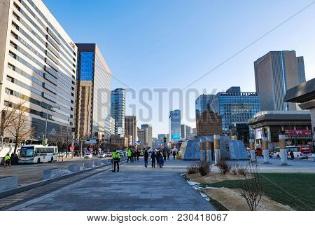 Seoul, South Korea - January 27th 2017: Urban Park Surrounding By Skycrappers At Cheonggyecheon Publ