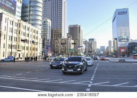 Seoul, South Korea - January 27th 2017: Heavy Traffic And Skycrappers At Early Morning In Seoul, Sou